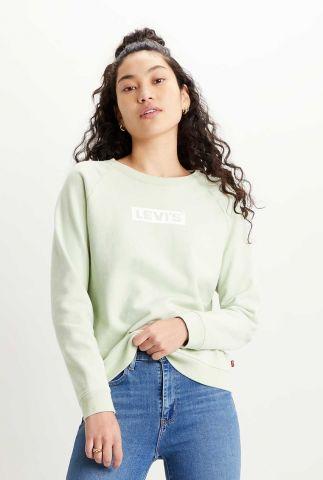 mint groene sweater met logo 29717-0107