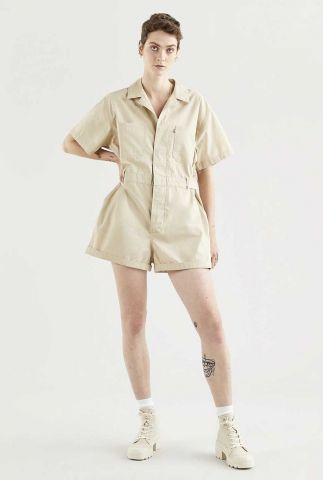 beige utility playsuit met korte mouwen alva cinch waist romper 29794-0005