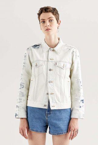 wit spijkerjasje met tie-dye details ex-boyfriend trucker 29944-0147