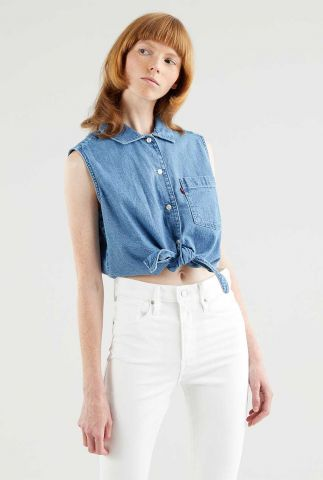 mouwloze denim blouse met knoop detail rumi button shirt 29958-0001