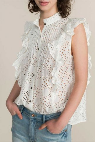 witte broderie anglaise blouse met korte mouw 2s2398-11150