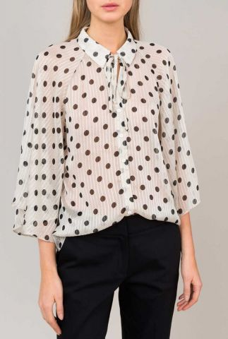 semi-transparante blouse met zwarte polkadots 2s2405-11170
