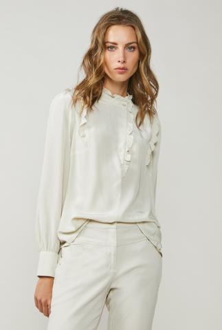 crème kleurige blouse met ruches 2s2454-11233