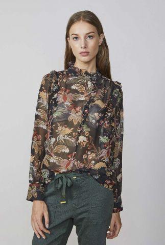 semi-transparante blouse met asymmetrische sluiting 2s2470-11241