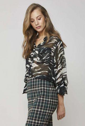 semi-transparante blouse met zebraprint 2s2482-11231