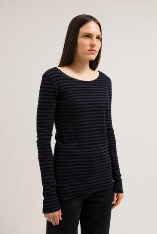 donker blauwe top met streep dessin eva stripes 30001508
