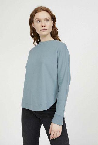 grijs blauwe sweater met ronde afwerking helaa logo 30001605