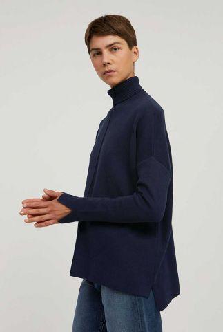 donker blauwe gebreide trui met col kraag ayakaa 30001608
