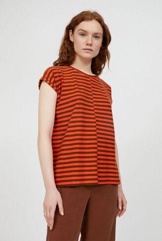 oranje gestreept t-shirt van biologisch katoen jaarin 30001798