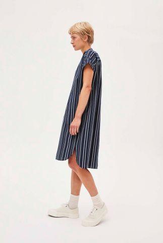 donker blauwe jurk met streep dessin myaa stripes 30001899