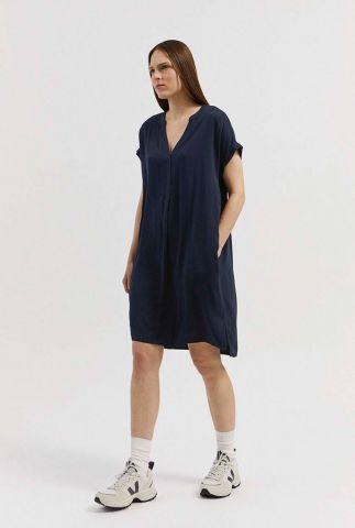 donker blauwe oversized jurk van viscose met v-hals niaraa 30001904