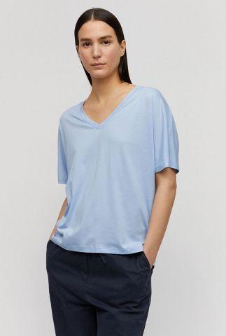 licht blauw t-shirt van een lyocell mix met v-halslijn miraa 30002012