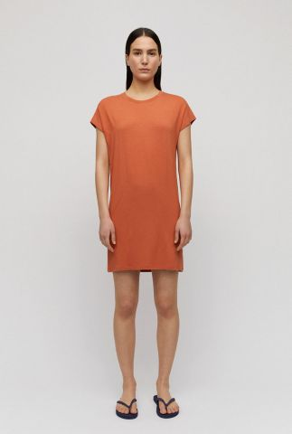 roest bruine basis jurk van viscose malinaa 30002060