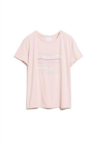 licht roze t-shirt van bio katoen met opdruk naalin our ocean 30002080
