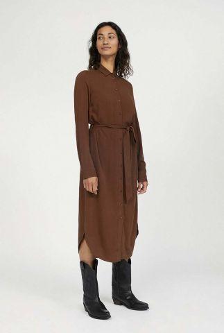 bruine midi jurk met klassieke kraag en ceintuur saigaa 30002120