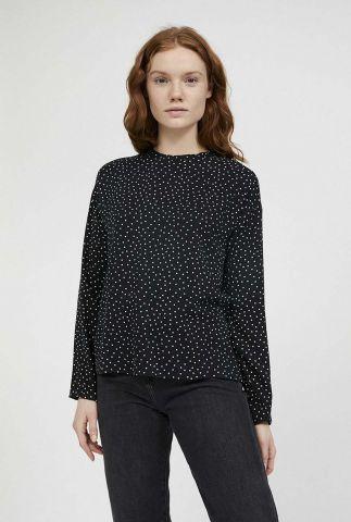 zwarte blouse met witte stippen print amaalur 30002311