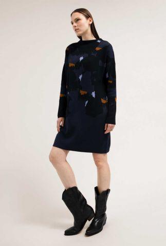 donker blauwe gebreide jurk haarissa big dots 30002391