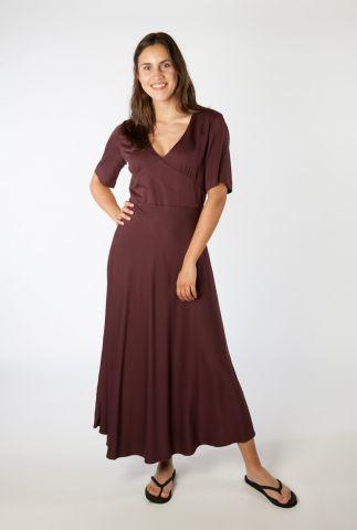 aubergine kleurige maxi jurk van bio viscose rosamaary 30002554