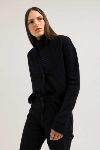 donker blauw vest van een wolmix met knopen olenkaa 30002759