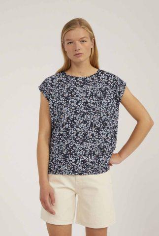 donker blauw t-shirt met all-over print jenna 30002848