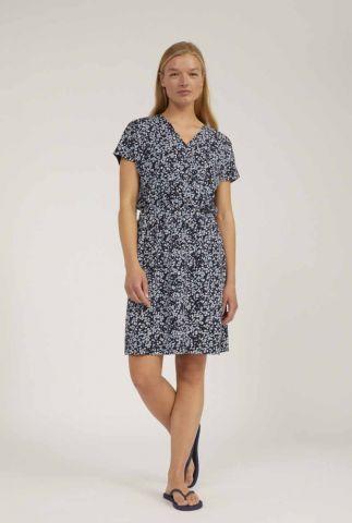 donker blauwe jurk met all-over print laavi 30002940