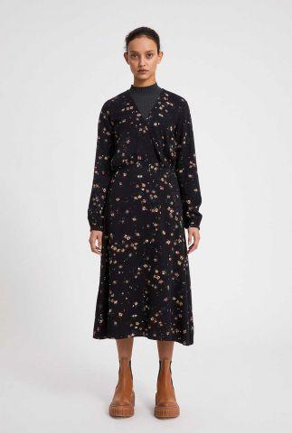 zwarte jurk met overslag en bloemen dessin aleixaa 30003085