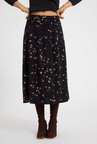 zwarte midi rok met bloemen dessin leaaha 30003089