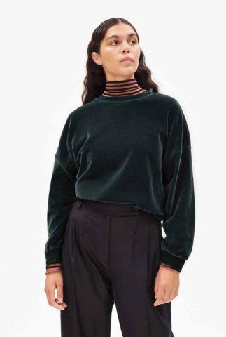 donkergroene velours sweater met ronde hals andaa 30003362