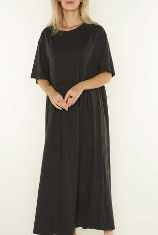 donker grijze maxi jurk met korte mouw nora 3053201