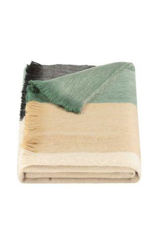 gestreepte sjaal van alpaca wolmix mint beige black scarf