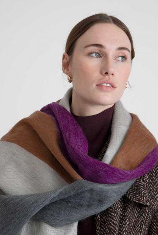 paars gestreepte sjaal violet rusty beige grey scarf