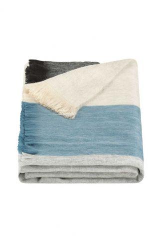 blauw gestreepte sjaal van alpaca wolmix black grey blue beige scarf