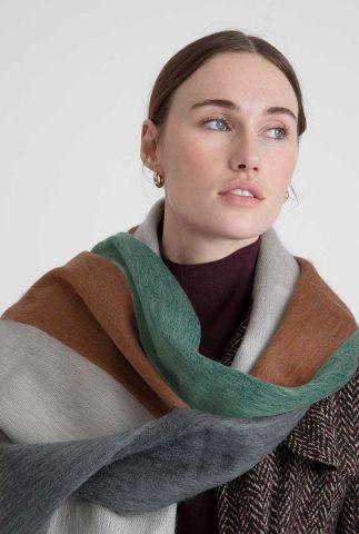 zacht gestreepte sjaal van alpaca wolmix brown mint grey scarf