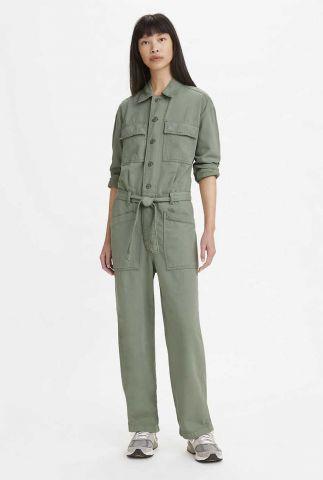 groene jumpsuit met ceintuur surplus jumpsuit  32911-0003