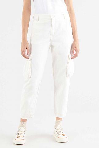 witte denim broek met opgestikte zakken loose cargo 36693-0006