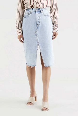 midi denim rok deconstructed split skirt 37792-0001