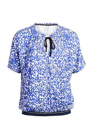 blauwe overslag top met witte print 3s4391-30134
