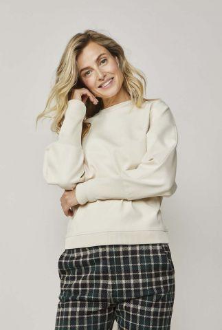 crème kleurige sweater met rits detail 3s4454-30190