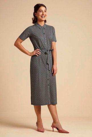 doorknoop jurk met grafische print rosie slimfit dress 04946