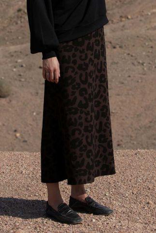 donker bruine viscose maxi rok met luipaard dessin juli 4052223