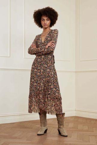 zwarte wikkel jurk met bloemen print natasja frill dress confetti
