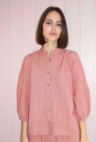 oudroze blouse met 3/4 mouwen en stippen dessin solstice