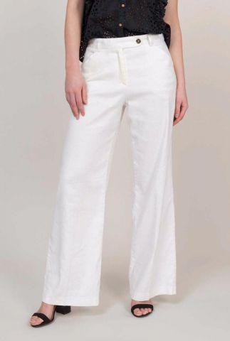 witte broek van linnenmix met wijde pijpen 4s1897-11118