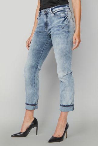 Cropped jeans met wassing en toelopende pijpen 4s1920-5028