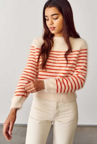creme kleurige trui met ingebreid streep dessin datose k1014s