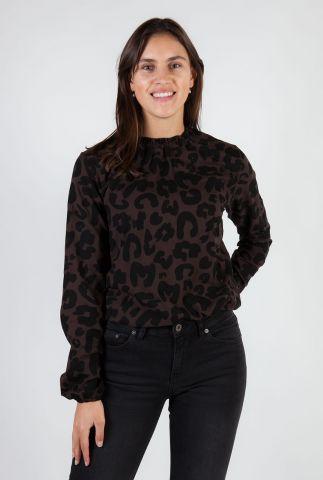 donkerbruine top met luipaard dessin lou lou 5052222