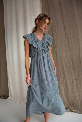 grijze mouwloze maxi jurk van katoen met ruches izze