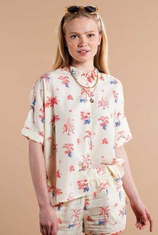 off white blouse met tropische print 17384 nibe monkey trees