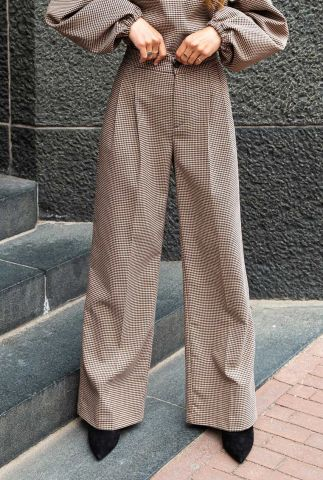 straight fit broek met pied-de-poule ruit dessin risha t107-1603