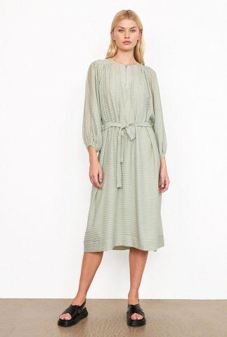 lichtgroene midi jurk met streep dessin bogota midi dress